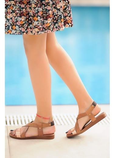 Pembe Potin A222-20 Kadın sandalet Taba